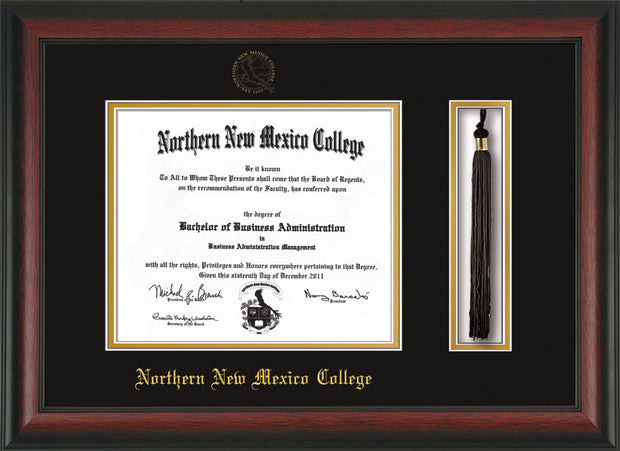 Image of Northern New Mexico College Diploma Frame Rosewood - w/Embossed NNMC Seal & Name - Tassel Holder - Black on Gold mat