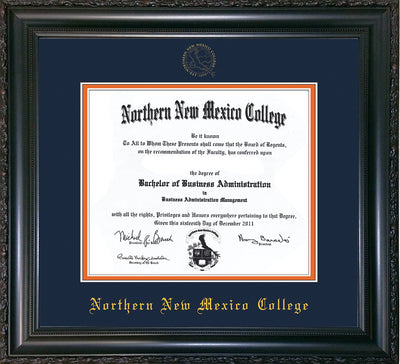 Image of Northern New Mexico College Diploma Frame - Vintage Black Scoop - w/Embossed NNMC Seal & Name - Navy on Orange mat