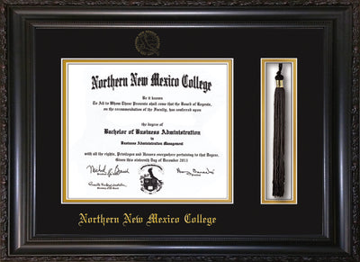 Image of Northern New Mexico College Diploma Frame - Vintage Black Scoop - w/Embossed NNMC Seal & Name - Tassel Holder - Black on Gold mat