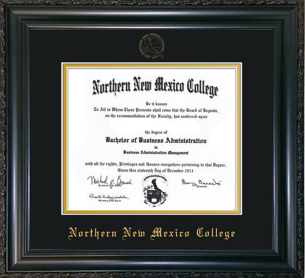 Image of Northern New Mexico College Diploma Frame - Vintage Black Scoop - w/Embossed NNMC Seal & Name - Black on Gold mat