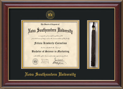 Image of Nova Southeastern University Diploma Frame - Cherry Lacquer - w/Embossed NSU Seal & Name - Tassel Holder - Black on Gold mat