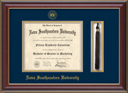 Image of Nova Southeastern University Diploma Frame - Cherry Lacquer - w/Embossed NSU Seal & Name - Tassel Holder - Navy on Gold mat