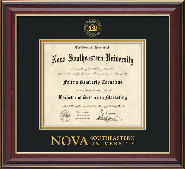 Image of Nova Southeastern University Diploma Frame - Cherry Lacquer - w/Embossed NSU Seal & Wordmark - Black on Gold mat