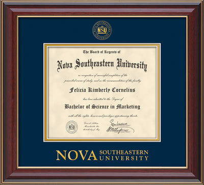 Image of Nova Southeastern University Diploma Frame - Cherry Lacquer - w/Embossed NSU Seal & Wordmark - Navy on Gold mat