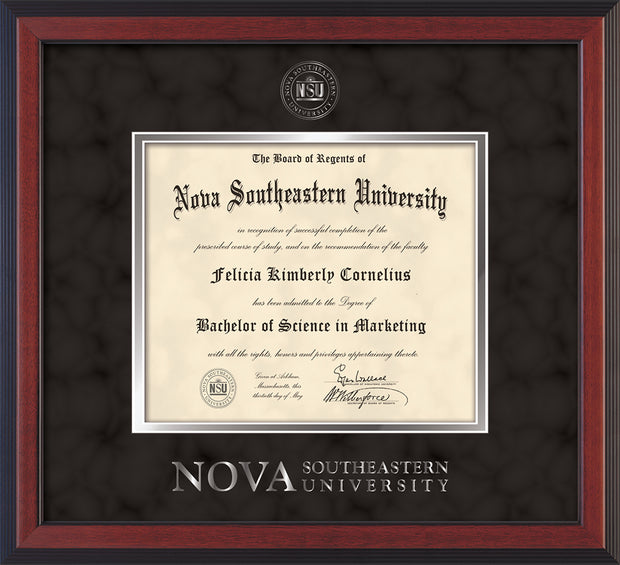 Image of Nova Southeastern University Diploma Frame - Cherry Reverse - w/Silver Embossed NSU Seal & Wordmark - Black Suede on Silver mat