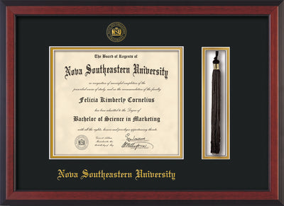 Image of Nova Southeastern University Diploma Frame - Cherry Reverse - w/Embossed NSU Seal & Name - Tassel Holder - Black on Gold mat