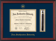 Image of Nova Southeastern University Diploma Frame - Cherry Reverse - w/Embossed NSU Seal & Name - Tassel Holder - Navy on Gold mat
