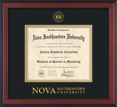 Image of Nova Southeastern University Diploma Frame - Cherry Reverse - w/Embossed NSU Seal & Wordmark - Black on Gold mat