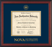 Image of Nova Southeastern University Diploma Frame - Cherry Reverse - w/Embossed NSU Seal & Wordmark - Navy on Gold mat