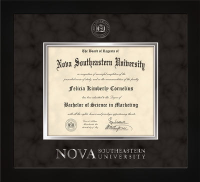 Image of Nova Southeastern University Diploma Frame - Flat Matte Black - w/Silver Embossed NSU Seal & Wordmark - Black Suede on Silver mat