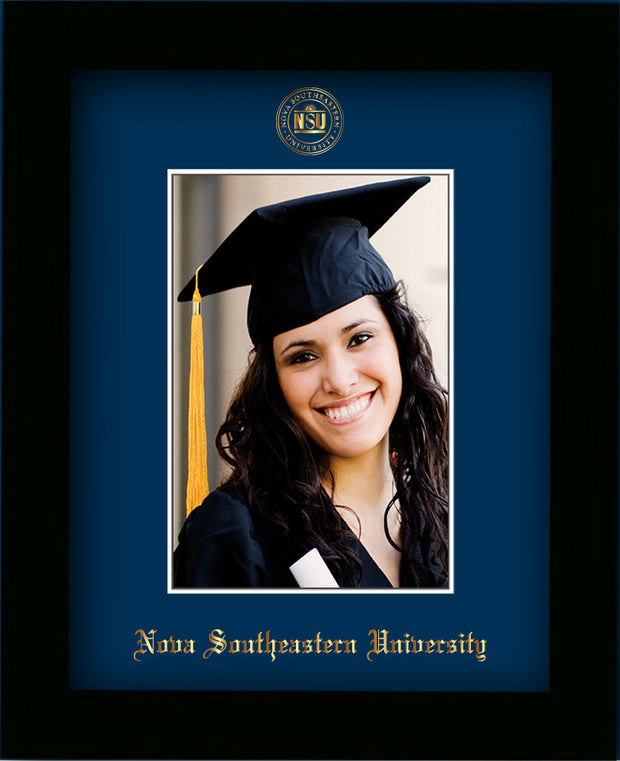 Image of Nova Southeastern University 5 x 7 Photo Frame - Flat Matte Black - w/Official Embossing of NSU Seal & Name - Single Navy mat