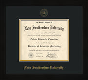 Nova Southeastern University Diploma Frame - Flat Matte Black - w/Embossed NSU Seal & Name - Black on Gold mat