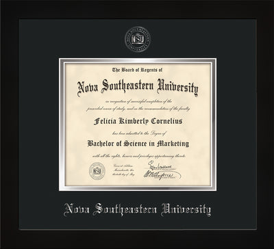 Image of Back View of Nova Southeastern University Diploma Frame - Flat Matte Black - w/Silver Embossed NSU Seal & Name - Black on Silver mat