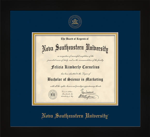 Nova Southeastern University Diploma Frame - Flat Matte Black - w/Embossed NSU Seal & Name - Navy on Gold mat