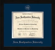 Image of Nova Southeastern University Diploma Frame - Flat Matte Black - w/Silver Embossed NSU Seal & Name - Navy on Silver mat
