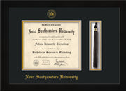 Image of Nova Southeastern University Diploma Frame - Flat Matte Black - w/Embossed NSU Seal & Name - Tassel Holder - Black on Gold mat