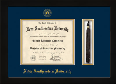 Image of Nova Southeastern University Diploma Frame - Flat Matte Black - w/Embossed NSU Seal & Name - Tassel Holder - Navy on Gold mat