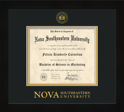Image of Nova Southeastern University Diploma Frame - Flat Matte Black - w/Embossed NSU Seal & Wordmark - Black on Gold mat