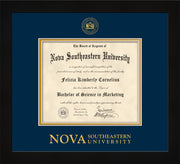 Image of Nova Southeastern University Diploma Frame - Flat Matte Black - w/Embossed NSU Seal & Wordmark - Navy on Gold mat