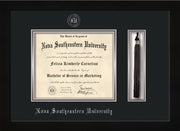 Image of Nova Southeastern University Diploma Frame - Flat Matte Black - w/Silver Embossed NSU Seal & Name - Tassel Holder - Black on Silver mat