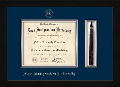 Image of Nova Southeastern University Diploma Frame - Flat Matte Black - w/Silver Embossed NSU Seal & Name - Tassel Holder - Navy on Silver mat