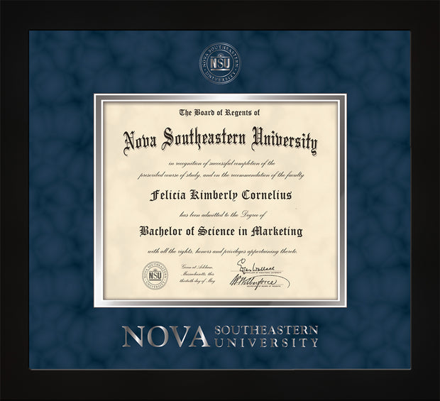 Image of Nova Southeastern University Diploma Frame - Flat Matte Black - w/Silver Embossed NSU Seal & Wordmark - Navy Suede on Silver mat