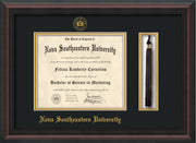 Image of Nova Southeastern University Diploma Frame - Mahogany Braid - w/Embossed NSU Seal & Name - Tassel Holder - Black on Gold mat