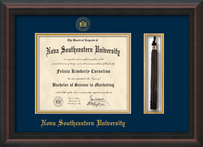 Image of Nova Southeastern University Diploma Frame - Mahogany Braid - w/Embossed NSU Seal & Name - Tassel Holder - Navy on Gold mat