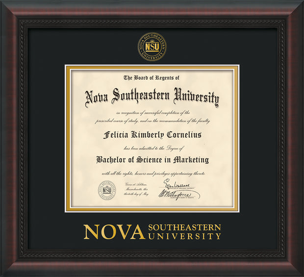Image of Nova Southeastern University Diploma Frame - Mahogany Braid - w/Embossed NSU Seal & Wordmark - Black on Gold mat