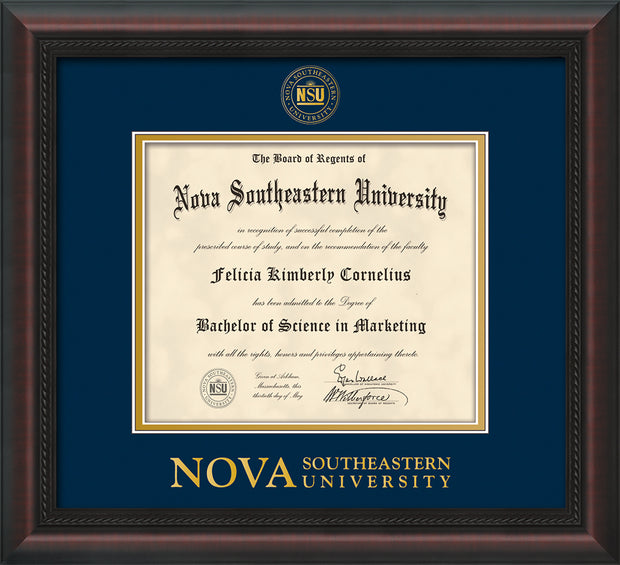 Image of Nova Southeastern University Diploma Frame - Mahogany Braid - w/Embossed NSU Seal & Wordmark - Navy on Gold mat