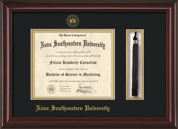 Image of Nova Southeastern University Diploma Frame - Mahogany Lacquer - w/Embossed NSU Seal & Name - Tassel Holder - Black on Gold mat
