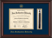Image of Nova Southeastern University Diploma Frame - Mahogany Lacquer - w/Embossed NSU Seal & Name - Tassel Holder - Navy on Gold mat