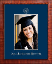 Image of Nova Southeastern University 5 x 7 Photo Frame - Mezzo Gloss - w/Official Silver Embossing of NSU Seal & Name - Single Navy mat