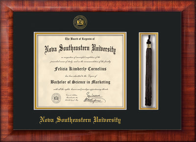 Image of Nova Southeastern University Diploma Frame - Mezzo Gloss - w/Embossed NSU Seal & Name - Tassel Holder - Black on Gold mat