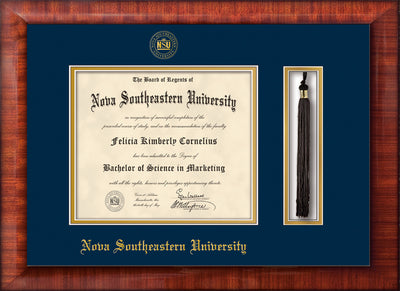 Image of Nova Southeastern University Diploma Frame - Mezzo Gloss - w/Embossed NSU Seal & Name - Tassel Holder - Navy on Gold mat