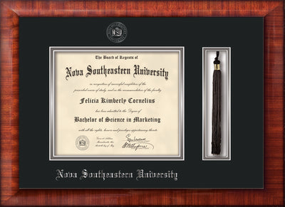 Image of Nova Southeastern University Diploma Frame - Mezzo Gloss - w/Silver Embossed NSU Seal & Name - Tassel Holder - Black on Silver mat