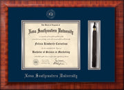 Image of Nova Southeastern University Diploma Frame - Mezzo Gloss - w/Silver Embossed NSU Seal & Name - Tassel Holder - Navy on Silver mat