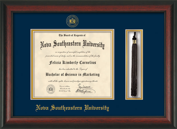 Image of Nova Southeastern University Diploma Frame - Rosewood - w/Embossed NSU Seal & Name - Tassel Holder - Navy on Gold mat