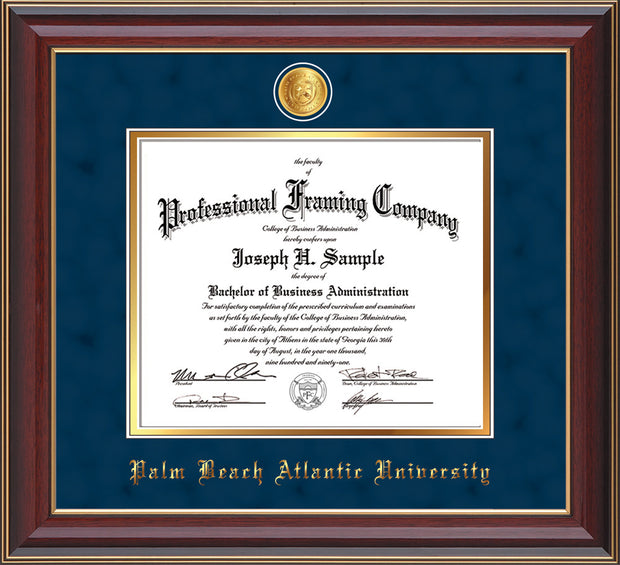 Image of Palm Beach Atlantic University Diploma Frame - Cherry Lacquer - w/24k Gold-Plated Medallion PBA Name Embossing - Navy Suede on Gold mats