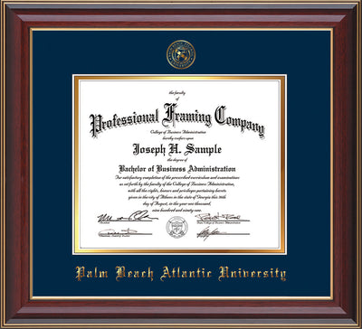 Image of Palm Beach Atlantic University Diploma Frame - Cherry Lacquer - w/Embossed Seal & Name - Navy on Gold mats