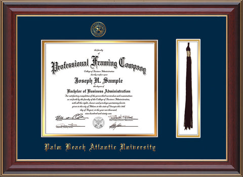 Image of Palm Beach Atlantic University Diploma Frame - Cherry Lacquer - w/Embossed Seal & Name - Tassel Holder - Navy on Gold mats