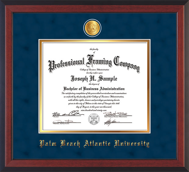 Image of Palm Beach Atlantic University Diploma Frame - Cherry Reverse - w/24k Gold-Plated Medallion PBA Name Embossing - Navy Suede on Gold mats