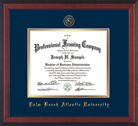 Image of Palm Beach Atlantic University Diploma Frame - Cherry Reverse - w/Embossed Seal & Name - Navy on Gold mats