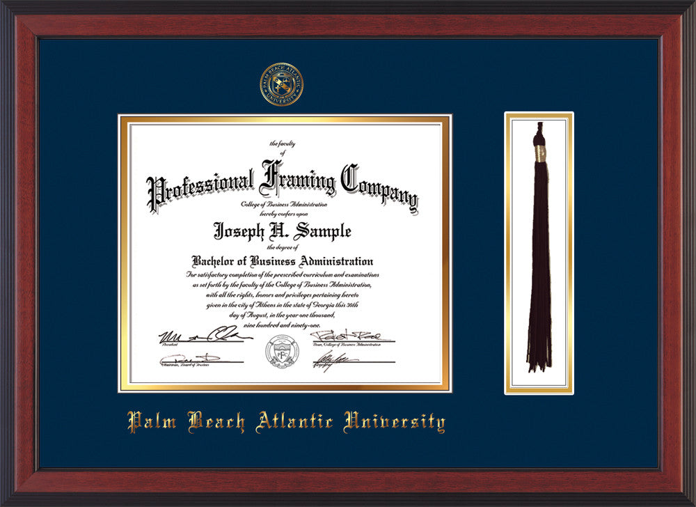 Palm Beach Atlantic University Diploma Frame - Cherry Reverse - w/Embossed  Seal & Name - Tassel Holder - Navy on Gold mats
