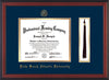 Image of Palm Beach Atlantic University Diploma Frame - Cherry Reverse - w/Embossed Seal & Name - Tassel Holder - Navy on Gold mats