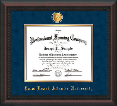 Image of Palm Beach Atlantic University Diploma Frame - Mahogany Braid - w/24k Gold-Plated Medallion PBA Name Embossing - Navy Suede on Gold mats