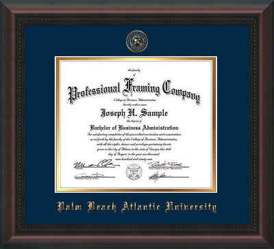 Image of Palm Beach Atlantic University Diploma Frame - Mahogany Braid - w/Embossed Seal & Name - Navy on Gold mats