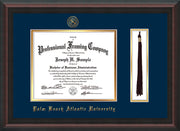 Image of Palm Beach Atlantic University Diploma Frame - Mahogany Braid - w/Embossed Seal & Name - Tassel Holder - Navy on Gold mats
