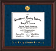 Image of Palm Beach Atlantic University Diploma Frame - Mahogany Lacquer - w/24k Gold-Plated Medallion PBA Name Embossing - Navy Suede on Gold mats