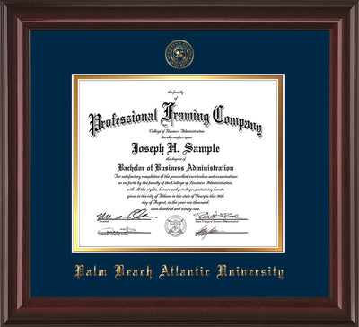 Image of Palm Beach Atlantic University Diploma Frame - Mahogany Lacquer - w/Embossed Seal & Name - Navy on Gold mats
